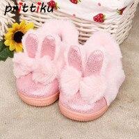Для маленьких девочек домашние тапочки домашняя Шлёпанцы для женщин Кролик хлопок теплые зимние Нескользящие Обувь
