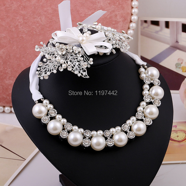 Joyería de perlas de novia de la boda Establece pendientes collares accesorios de La Joyería de la joyería de lujo crystal noiva