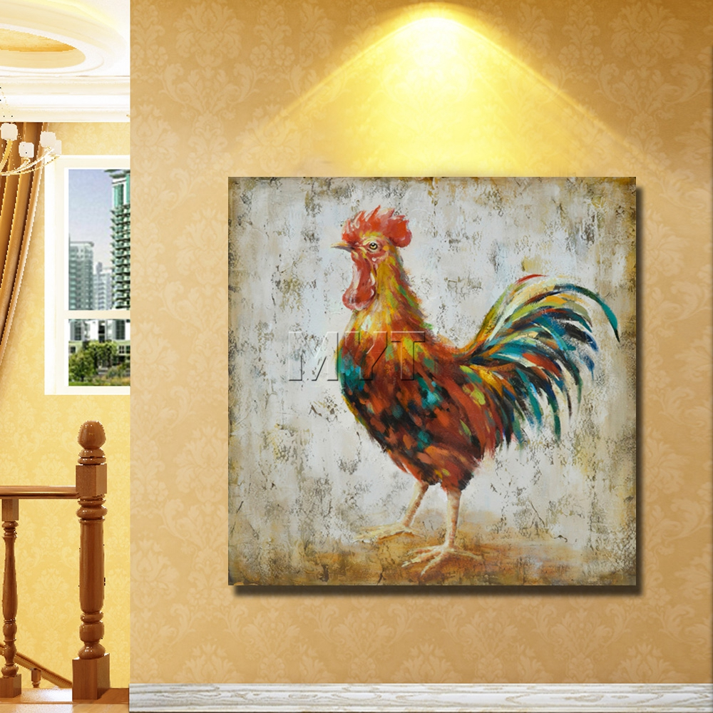 Rooster chicken oil painting realistic animal paintings by hand ...