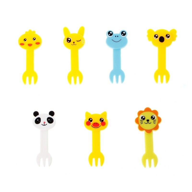 Safe Kids Mini Cute Farm Cartoon Animal Fruit Fork Set Plastic Cute Toothpick Tableware Food Picks Party Decor Cutlery Set