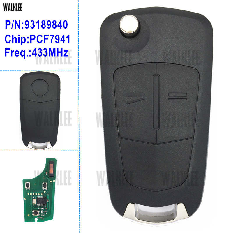 WALKLEE Remote Key Fit For Opel/Vauxhall Opel Corsa D 2007-2012, Meriva B 2010-2013, For HUF 0113 CE For Delphi G1-AM433TX