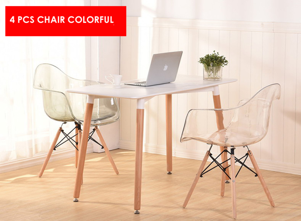 Modern Design Transparent Clear Acrylic minimalist modern classic design Dining Chair Plastic solid wooden Cafe Loft Chair-4 PCS