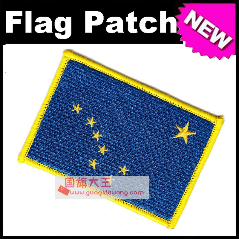 Alaska Flag Embroidery Patches The United States of America USA State Iron on FULL Embro ...
