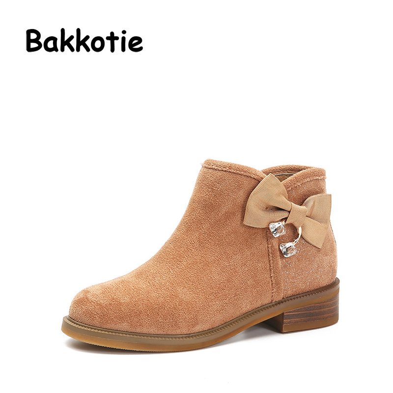 Bakkotie 2017 Autumn Fashion Baby Girl Fashion Shoe Flock Child Martin Boots Rhinestone Ankle Kid Brand Toddler Shoes Bow Stud bakkotie 2017 new autumn baby boy white shoes cat kid girl brand leisure sneaker gneuine leather breathable child soft trainer