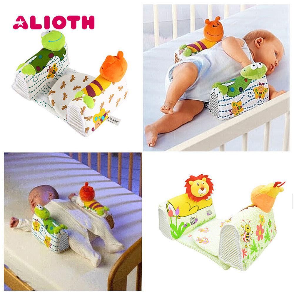 Alioth Baby Sleep Positioner Mat with Anti Roll Pillow Cute Pattern Infant Blankets Food Grade Silicone Safe Sleep Blanket Mat