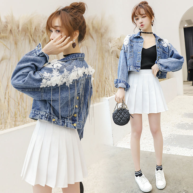 Denim   Jacket   Women Short   Basical   Coat Embroidery 3D Flower Tassels Batwing Full Sleeves Loose Size S Casual Spring Clothes