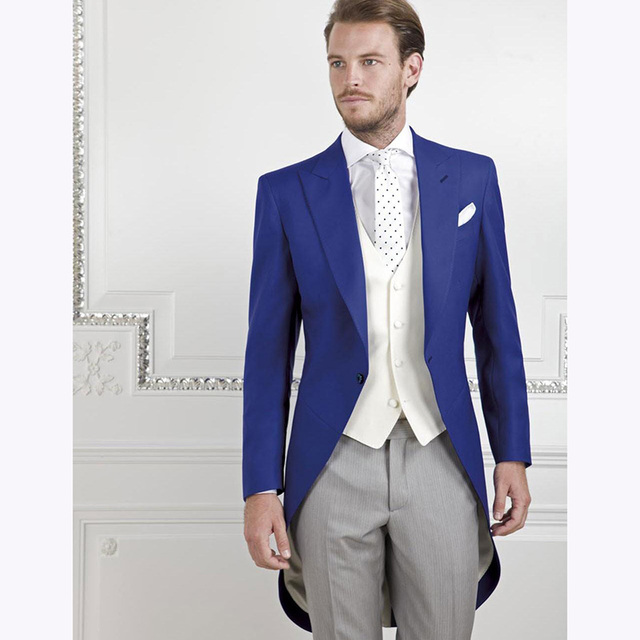 0e1abc0a7347 Morning Style One Button Royal Blue Groom Tuxedos men suit Groomsmen Men s  Wedding Prom Suits Bridegroom (Jacket+Pants+Vest+Tie)