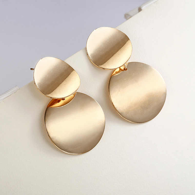 E0202 Unique Metal Drop Earrings Trendy Gold Color Round Statement Earrings for Women New Arrival wing Fashion Jewelry