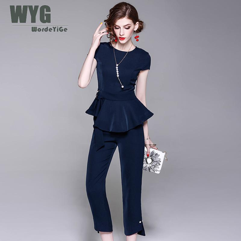 WYG Two Piece Set Top and Pants 2018 Summer New Elegant Navy Blue Short Sleeve Peplum Tops Blouses + Pearl Pin Up Slim Trouser
