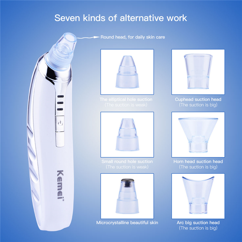 7 in 1 Automatic Blackhead Pore Remover Peeling Cleaner Extractor Smooth Microcrystalline Vacuum Suction Facial Acne Massager original package electric facial pore cleanser blackhead suction acne remover removal 2 in 1 facial steamer spray moisturizer