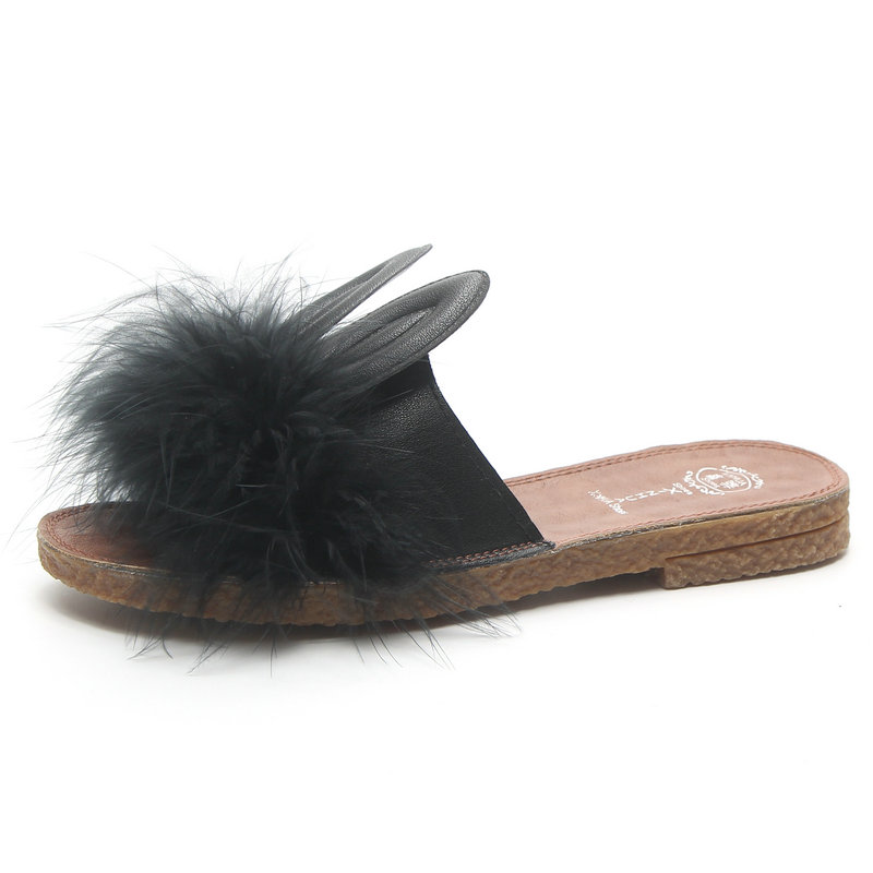 fc3558d0fbf0db Women Summer Soft Soles Slippers Flat Heels PU Leather Sandals Woman Faux Fur  Rabbit Ears Cute Shoes Women Black Beige White