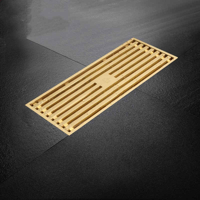 High quality Gold Pure copper brass 200*82mm bathroom Linear Shower Drain Floor Strainer drainer high quality gold solid brass 4 inch 100 100mm square deodorant bath floor drain shower waste water drainer