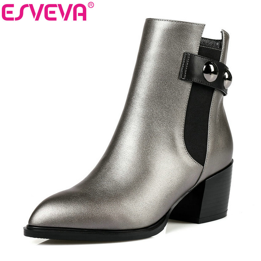 ESVEVA 2018 Western Style Women Boots Autumn Spring Shoes PU Genuine Leather Square High Heel Ankle Boots Ladies Boot Size 34-42 esveva 2016 sequined platform women boots autumn fashion boots wedges high heel leisure round toe ladies ankle boot size 34 39