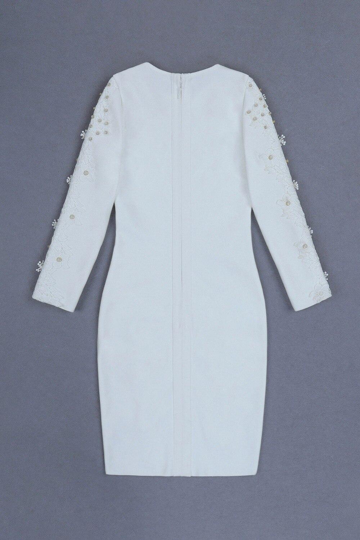 Halinfer 2018 новое зимнее женское сексуальное обтягивающее платье белое с круглым вырезом, украшенное бисером, вечерние мини платья beadag - 2