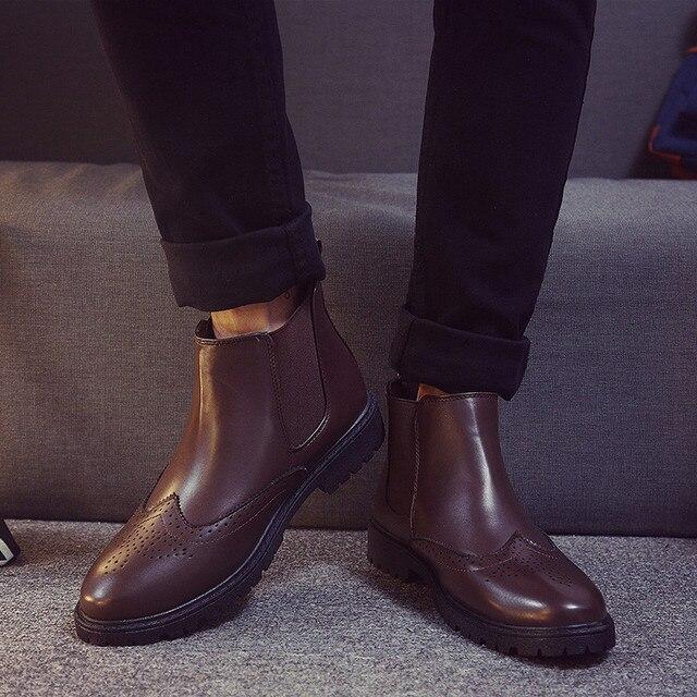 ZNPNXN Chelsea Negro Botas Zapatos de Los Hombres Botines de Cuero Artificial Para Hombres Botas Hombre Chaussure Homme