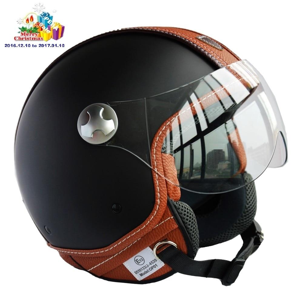 Motorcycle Helmets Dot >> (2016) Italian Design ECE DOT motorcycle helmet,Unisex Open Face Jet Sport Urban Vintage,Leather ...