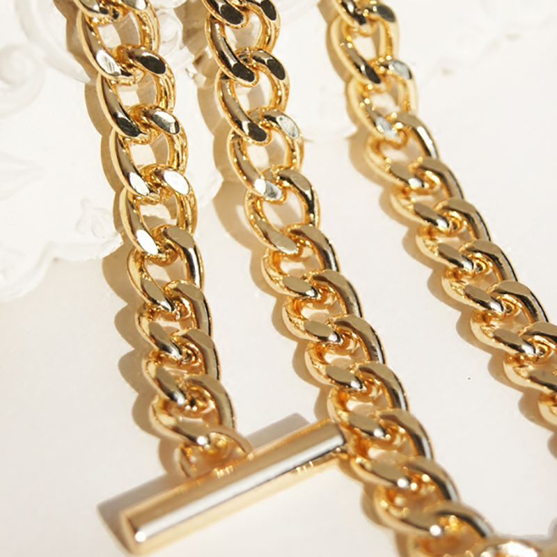 Light 7mm Gold Metal Replacement Chains Strap, Purse Handles With OT Clasps DIY 50-160cm Shoulder Bag Straps For Small Handbags