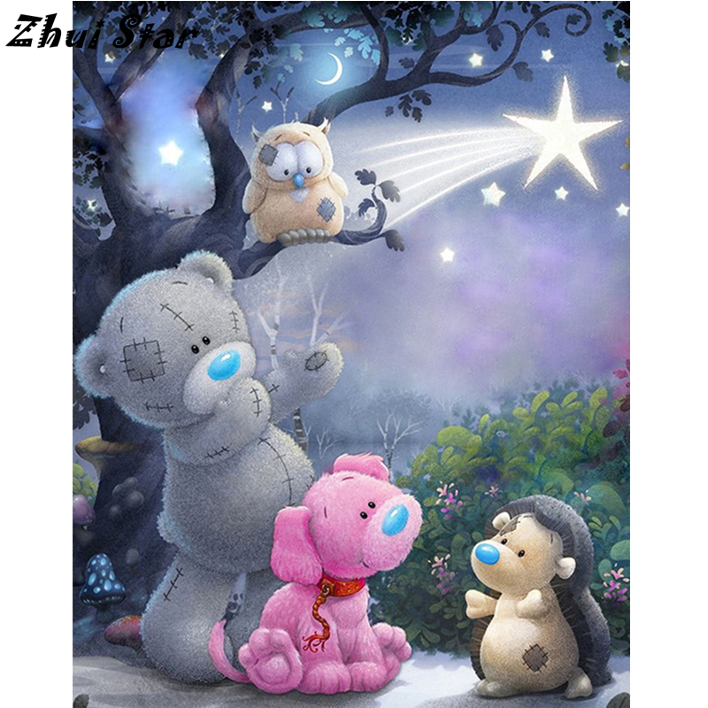 NEW Full Square Diamond 5D DIY Diamond Painting Baby bear Embroidery Cross Stitch Rhinestone Mosaic Painting F1000 ...