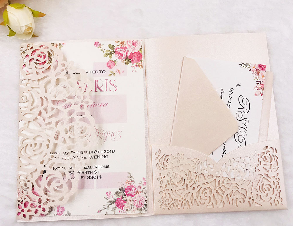 Free Shipping 180X pink pearl Hollow Flower laser cut wedding invitation cover