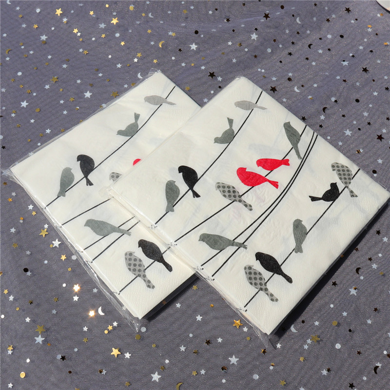 Fresh Creative Birds Paper Napkin Festive & Party Cafe Tissue Napkins Decoupage Decoration Paper 33cm*33cm 20pcs/pack/lot