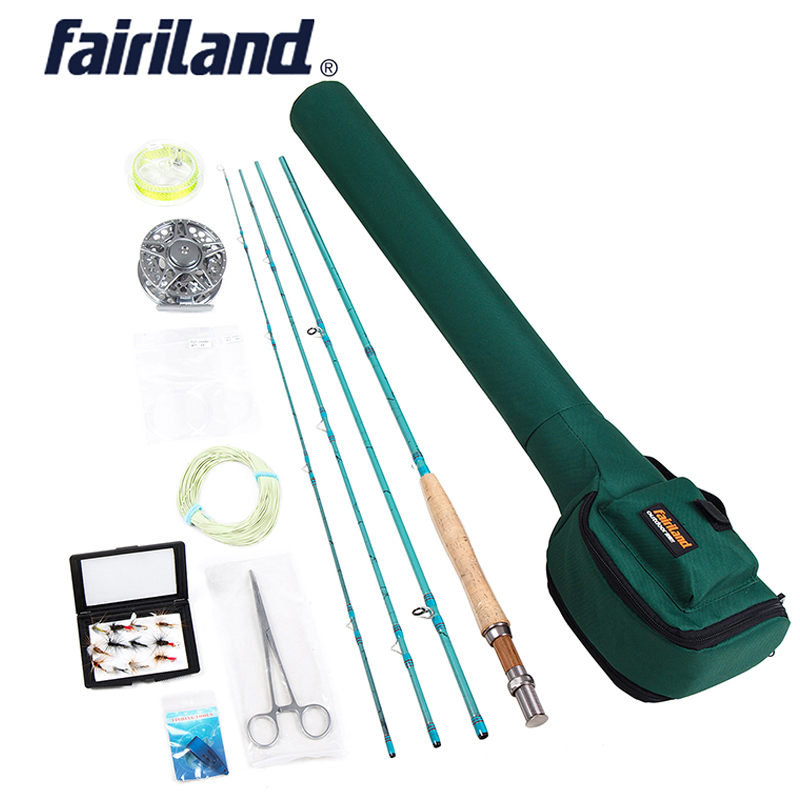 Fly Fishing rod reel combo 3 4 Portable 4 sections fly rod Large Arbor reels Lures