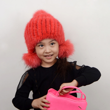 Baby Winter 100% Real Mink Fur hat with fox fur pom pom Beanies cap  Russian new year gift Natural Fur Hat For Kids Children
