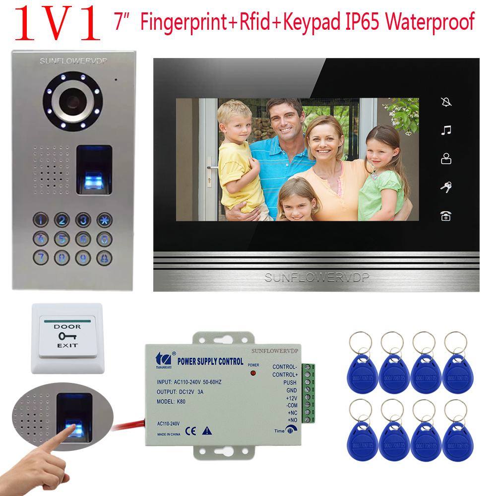 Touch Key Video intercom IP65 Waterproof Fingerprint /Code Unlock Intercom Video CCD Rfid Camera 7 Color Monitor Doorphone for 2 apartment video intercom fingerprint recognition password 700tvl sony camera unlock intercom video phone ip65 waterproof