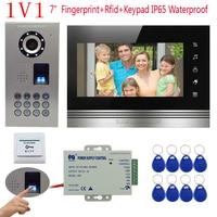 Touch Key Video intercom IP65 Waterproof Fingerprint /Code Unlock Intercom Video CCD Rfid Camera 7 Color Monitor Doorphone