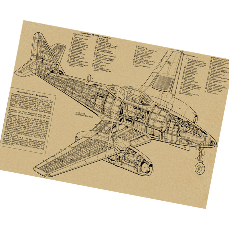 Hot sale Retro Wall Art Craft Vintage craft Paper Aircraft parts  decomposition vintage cafe poster Sticker painting free ship