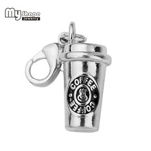 My Shape Coffee Cup Charms With Lobster Claw Clasp Accessory High Polished Rhodium Plated Pendant Charms for Coffee Lovers(China)