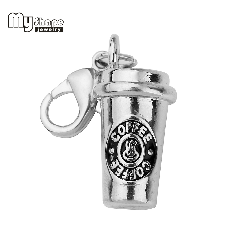my shape Coffee Cup Charms Keychain Accessory High Polished Silver Plated Pendant Lobster Claw Clasp Charms for Coffee Lovers