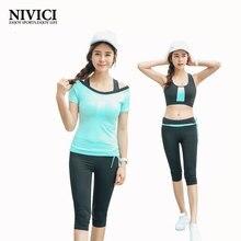NIVICI 2016 Neueste yoga set frauen sport-bh Sexy push up Gym Atmungsaktiv Fitness Kleidung Workout sport kostüme für frauen capris