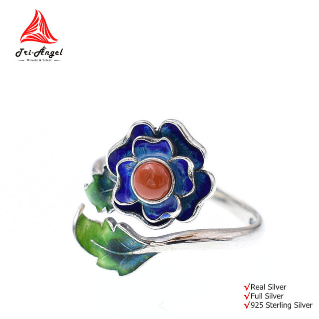 Quality Red Agate Stones 925 Sterling Silver Rings Colorful Rose Retro Enamel Vintage Gem Jewelry Adjustable Open Women #rw017