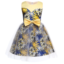 Spring European and American childrens clothing girls dress color matching pettiskirt bow print birthday party