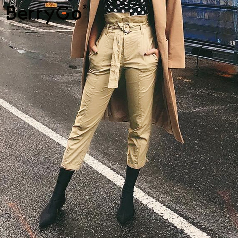 BerryGo Autumn ruffles high waisted fit   pants   Women streetwear zipper pencil   pants   trousers Casual pocket   capris   bottom female
