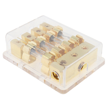12V 60A 1 In 4 Ways Copper Plated Car Stereo Audio Power Fuse Holder for Boat and Vehicles