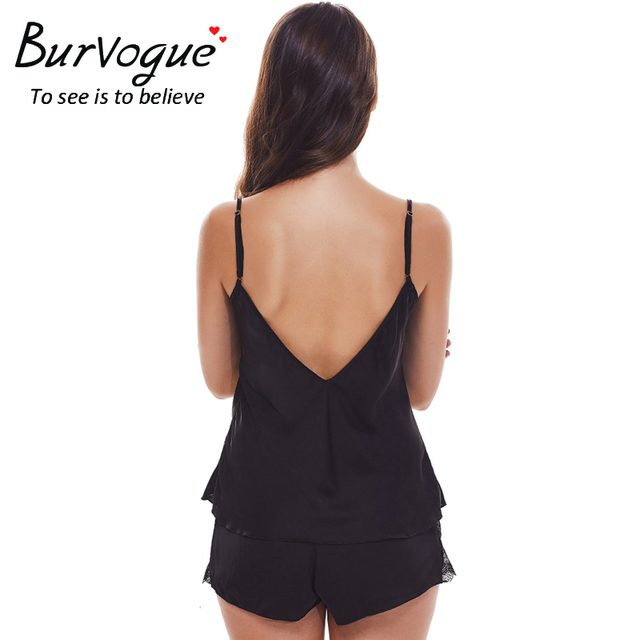 Burvogue Sexy Pajama Sets Sleepwear for Women Sleeveless Spaghetti Strap Nightwear Lace Pajamas Satin Cami Top Shorts Pajamas