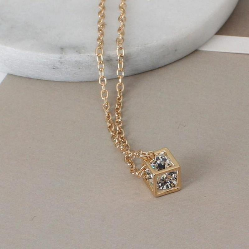 10pcs Gold Color Geometry Cube Pendant Necklaces Stainless Steel Chain Three-dimensional Statement Necklace Happiness Jewelry Jewelry & Accessories