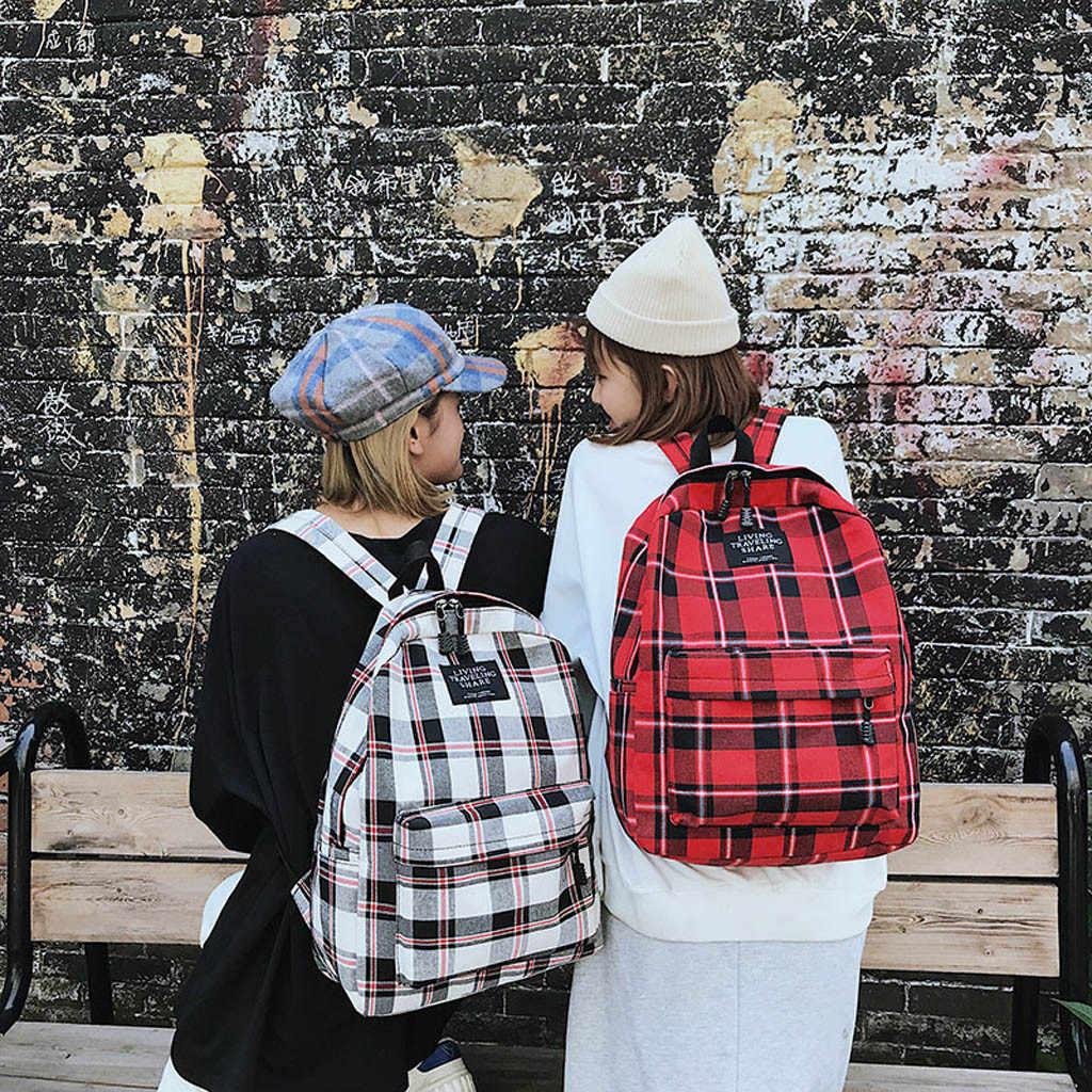 בד תרמיל פשוט סגנון נשים כתף תרמילי בית ספר תיק מכללת רוח תיק נערה משובצת תרמיל נסיעות תיק