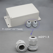 цена на Wall Mounting waterproof junction box with cable gland 200*120*75mm enclosure include 2pcs M20 cable gland