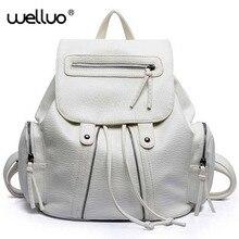 2015 кожаный рюкзак дамы женская обувь наивысшего качества рюкзак мода PU женщин черный серебристый белый рюкзак larage потенциала XA754B