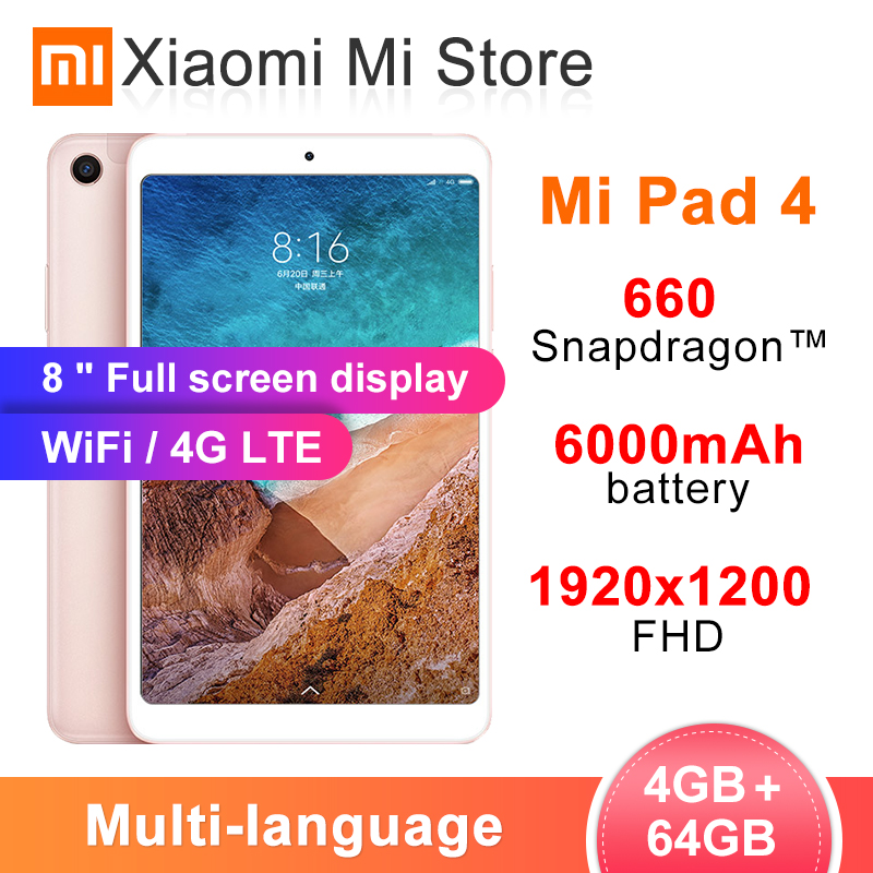 "Original Xiaomi Mi Pad 4 PC Tablet 8.0"" 1920x1200 FHD MIUI 10 Tablets Snapdragon 660 Octa Core Dual WiFi 13MP+5MP Camera 6000mAh(China)"