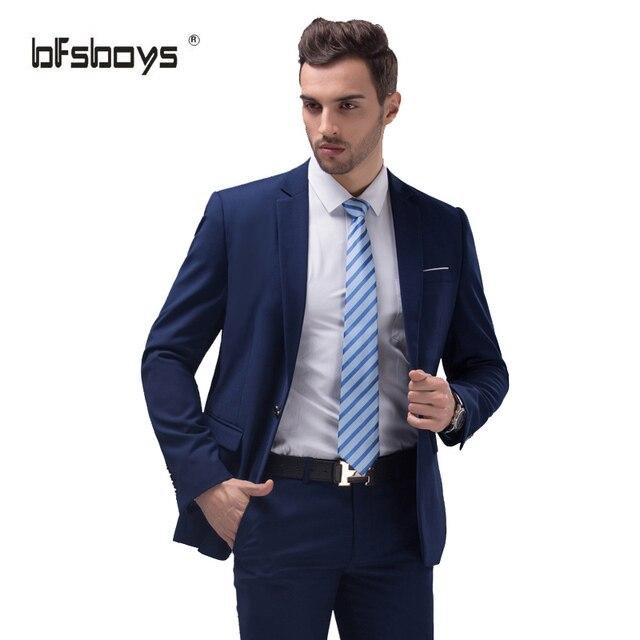 (Chaquetas + Pantalones) 2016 Nuevos Hombres de la Llegada Traje de Primavera Delgado Novio Esmoquin Un Botón de Trajes de Boda Para Hombres Chaqueta blazer Terno masculino
