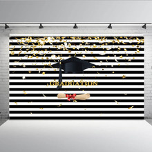 Photography Background Black and White Stripes Photo Backdrop Graduation Cap Golden Stars Confetti Backdrops Vinyl GY-1053(China)