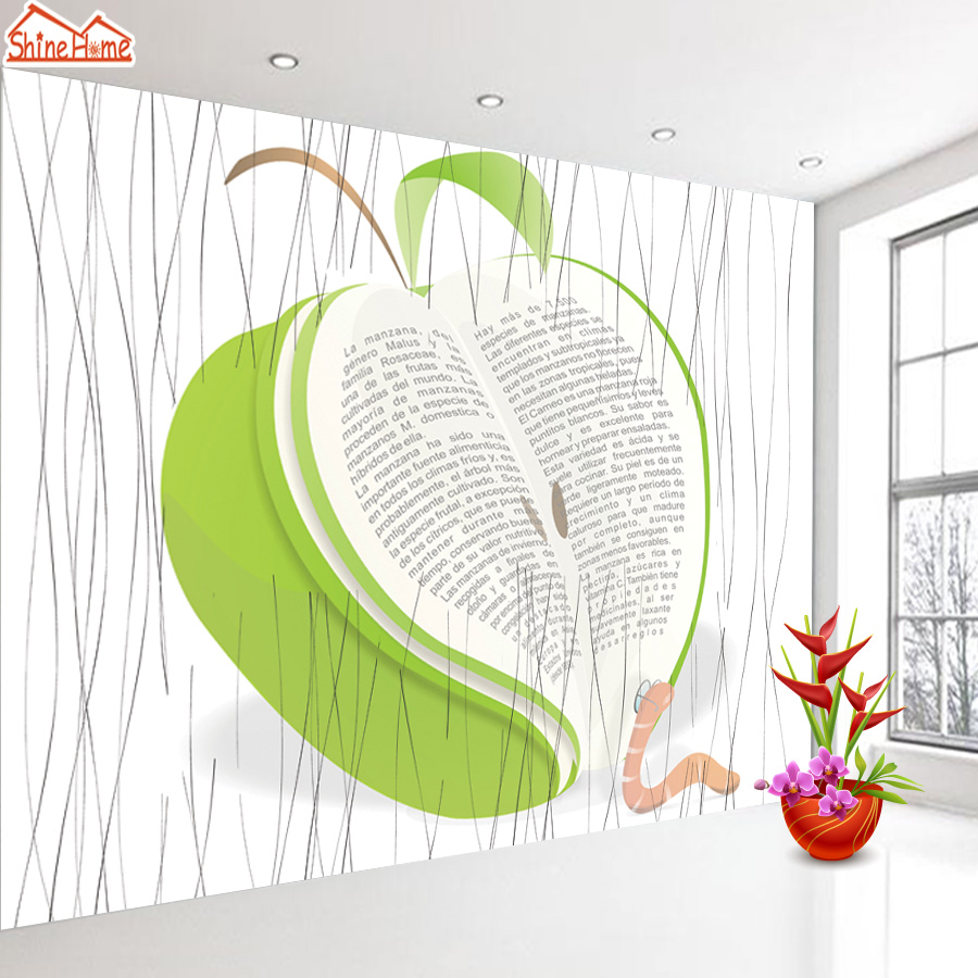 ShineHome-Green Apple Book Wallpapers 3d Room Wallpaper for Walls 3 d  Living Room Wall Paper Murals Wallpaper Home Mural Roll shinehome red rose bloom golden golden wallpaper for 3d rooms walls wallpapers for 3 d living room wall paper murals mural roll