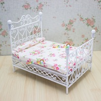 Dolls House Metal Bed Princess Double Bed Bedroom Furniture 1:12 Dollhouse Miniatures White