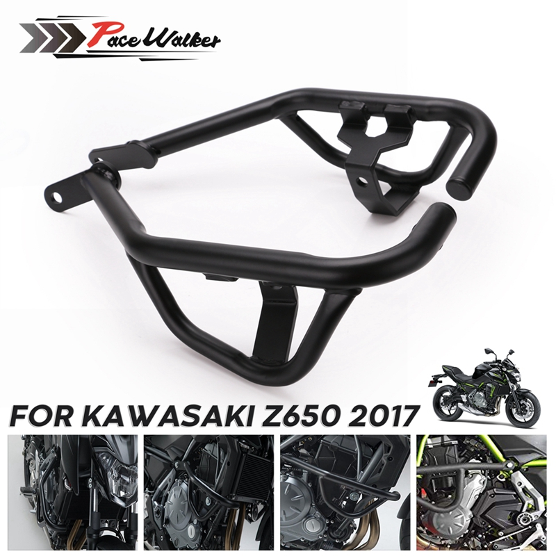 Motorcycle Black Crash Bars Engine Guard Frame Protector For Kawasaki Z650 Ninja650 2017 2018