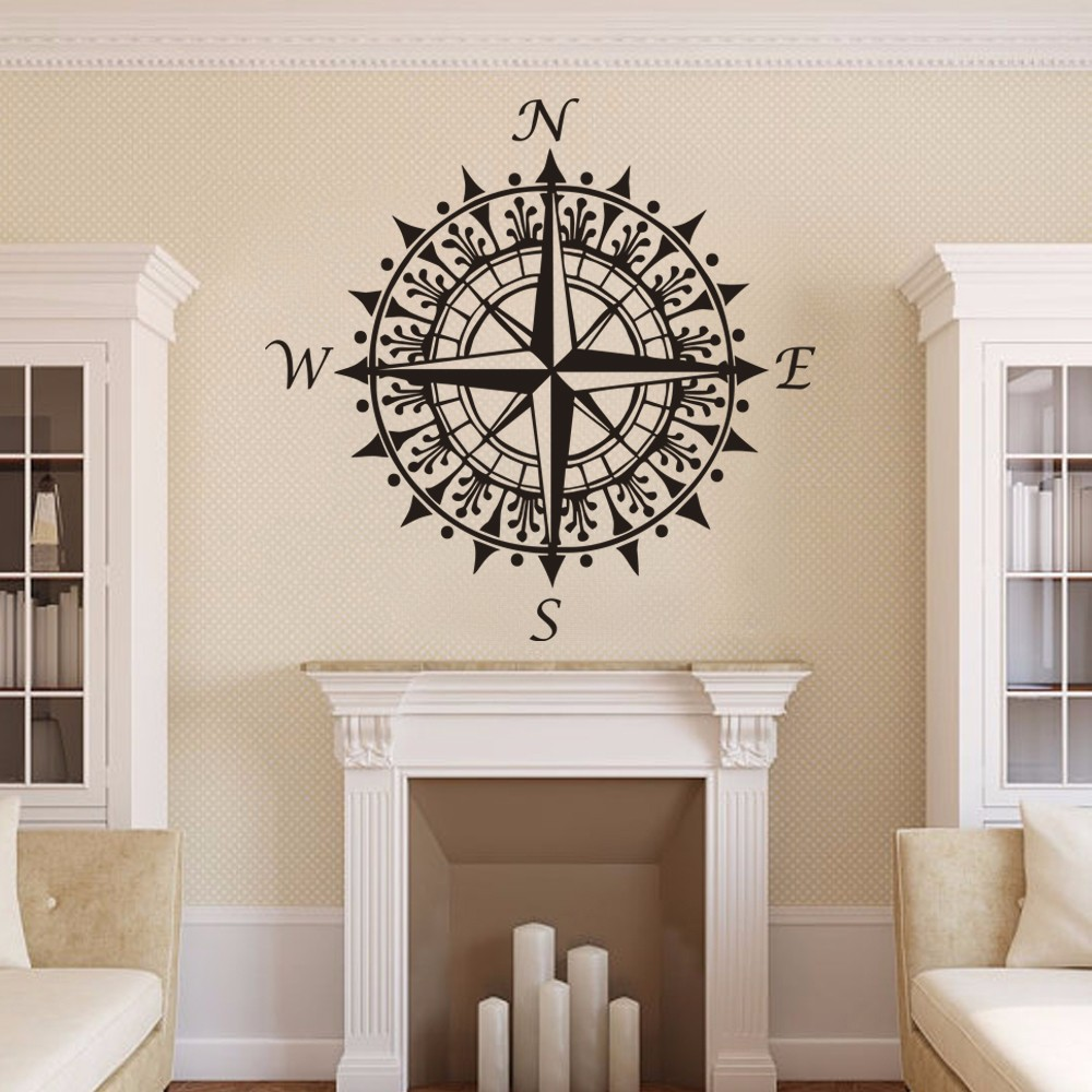 Compass Rose Nautical Vinyl Wall Decal Holiday