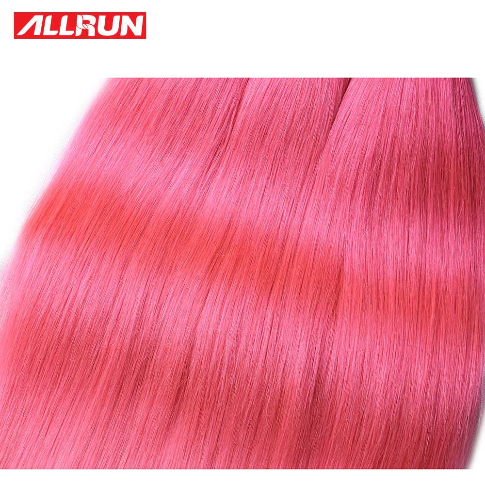 Allrun прямые волосы пачки Индийского Плетение волос Связки 100% человеческих волос пучки волосы Remy ткань 1/3/4 штук Красочные светло-розовый