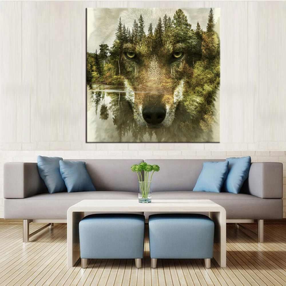 1 panel malowidła ścienne wilk wzory nowoczesne obrazy na płótnie do salonu obrazy na ścianę
